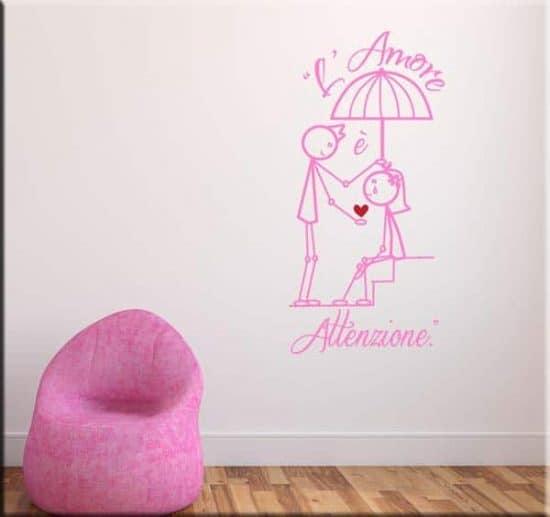 wall stickers amore attenzione disegno