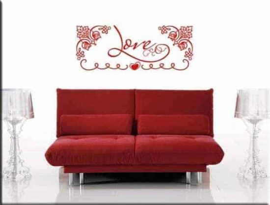 Adesivi da parete parola love letto