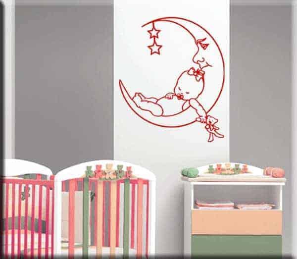 adesivi da parete bambini bebè luna