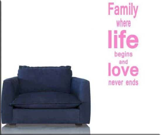 adesivo da parete frase family