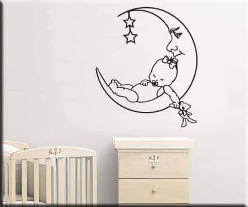 adesivo murale bambini bebè luna