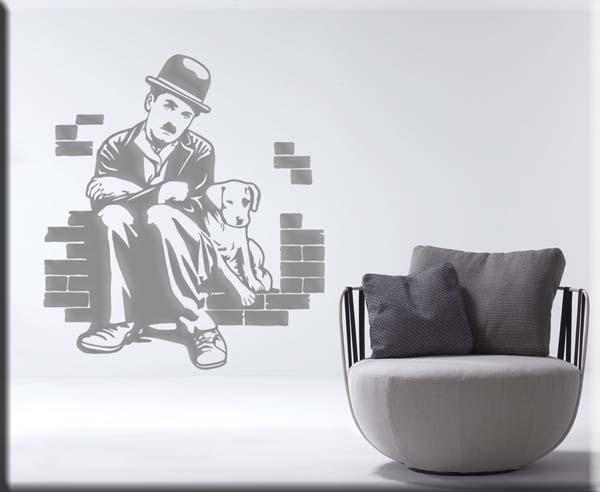 decorazioni adesive murali Charlie Chaplin cinema