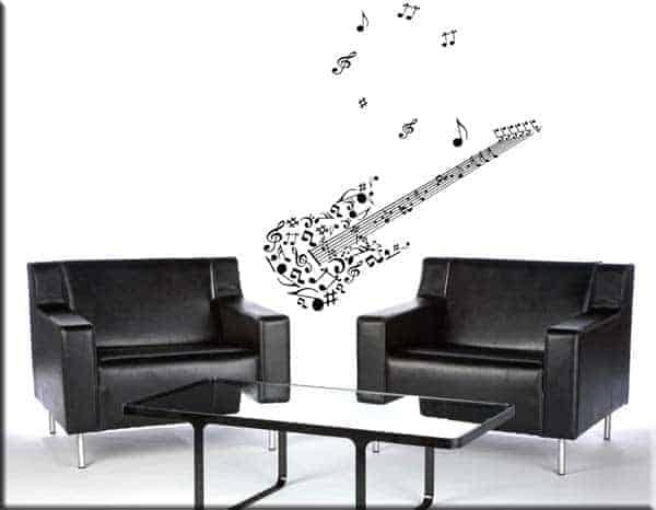 decorazioni murali adesive chitarra note