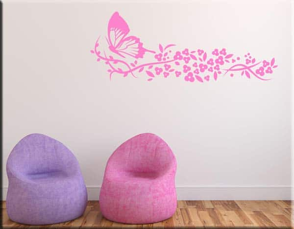 decorazioni murali farfalla fiori