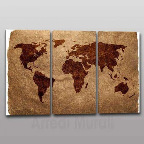 quadri moderni stampa planisfero mappamondo 3 tele