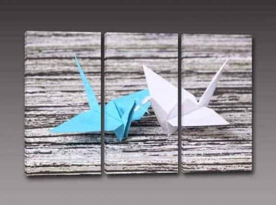 tris quadri moderni origami stampa