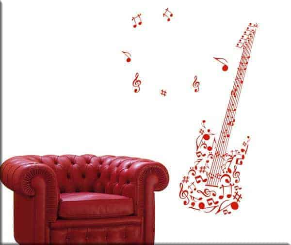 wall stickers chitarra note