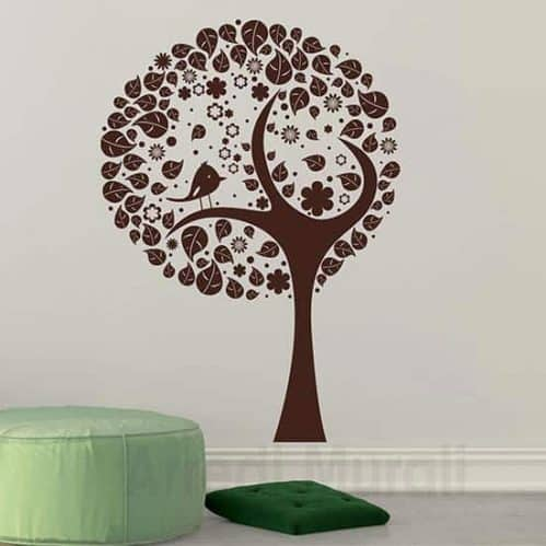 Decorazione adesiva murale albero stilizzato marrone