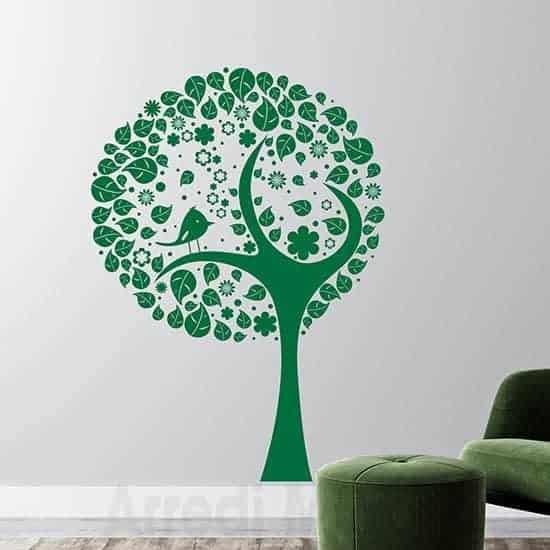Decorazione adesiva murale albero stilizzato verde