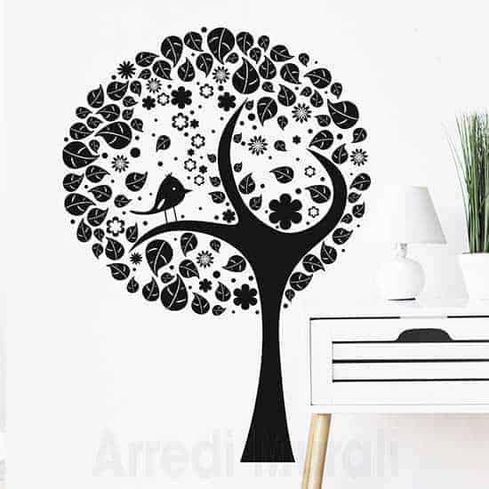 Decorazione adesiva murale albero stilizzato nero