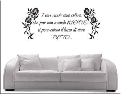 Decorazione adesiva murale floreale frase