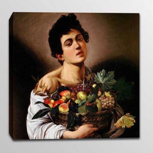 quadro su tela riproduzione caravaggio fanciullo con canestro di frutta