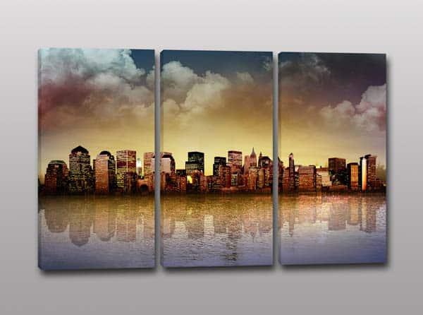 Tris quadri moderni panorama città