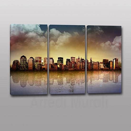 Tris quadri moderni panorama citta