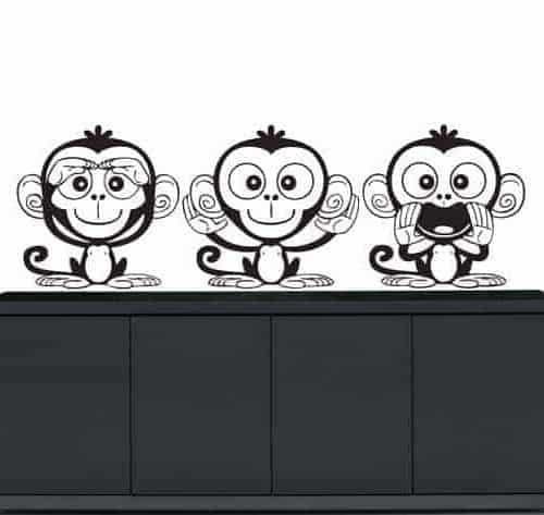 Wall stickers tre scimmiette dispettose