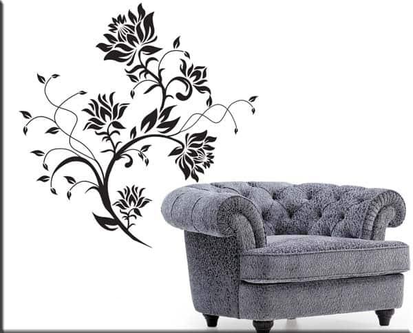Decorazioni adesive murali fiori stilizzati for Mattonelle adesive da parete