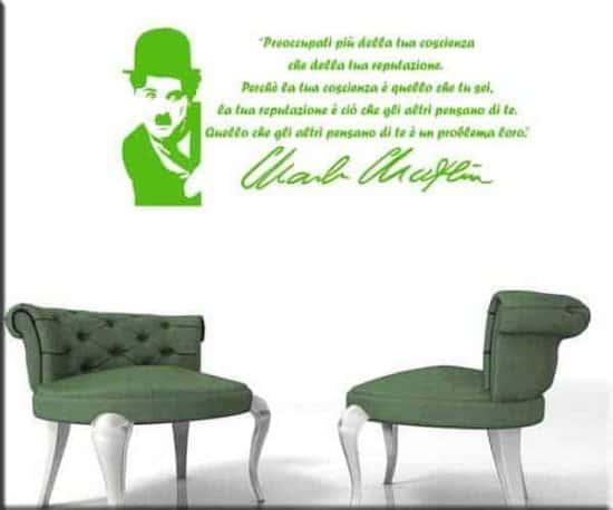 adesivi da parete frase Charlie Chaplin