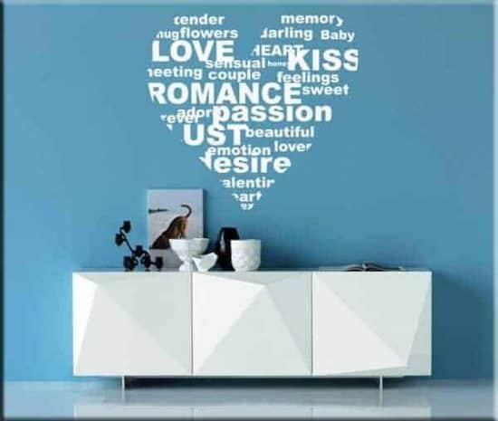 adesivi da parete parole cuore love