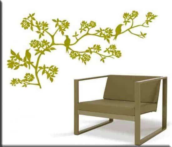 adesivi da parete ramo fiori albero