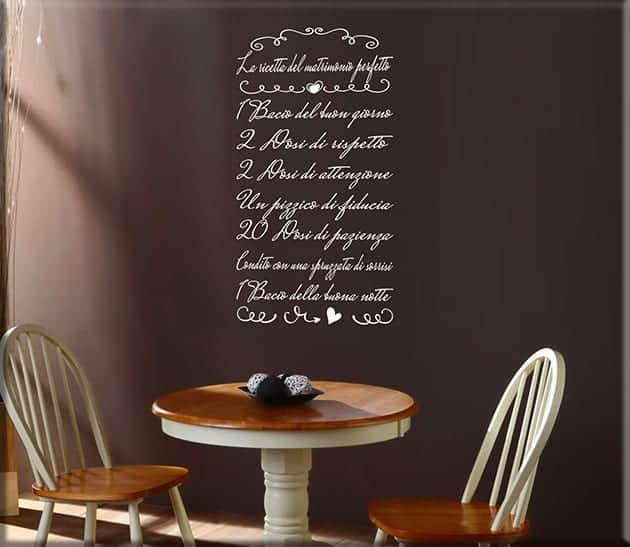 adesivi da parete ricetta del matrimonio perfetto