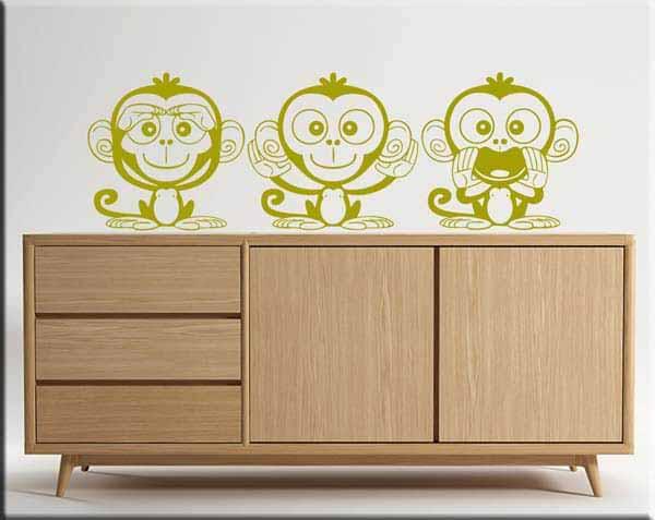 adesivi murali 3 scimmiette vedo,parlo e sento
