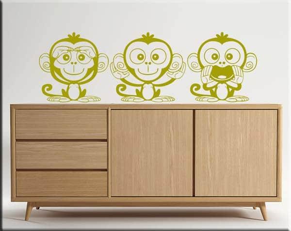 adesivi da parete tre scimmiette dispettose