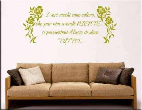 adesivi murali fiori frase