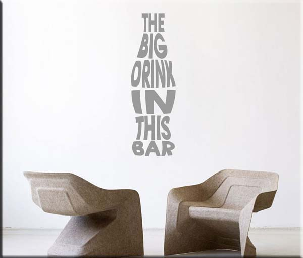 adesivi murali frase drink bar
