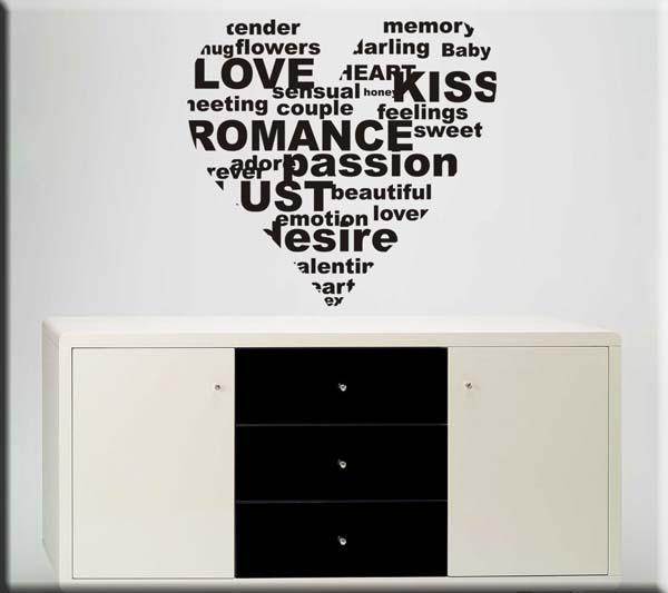 adesivi murali parole cuore love