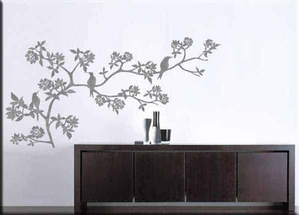 adesivi murali ramo fiori albero