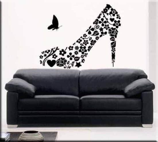 adesivi murali scarpa donna vintage