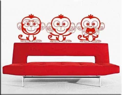 adesivi murali tre scimmiette dispettose