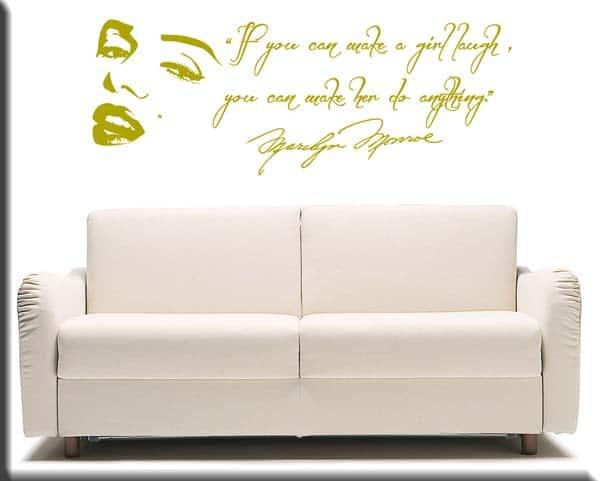 adesivi murali wall stickers frase Marilyn Monroe e volto