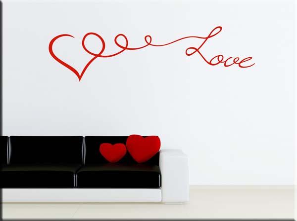 decorazione adesiva da parete cuore love