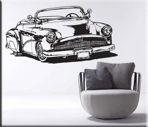 decorazione adesiva murale auto d'epoca