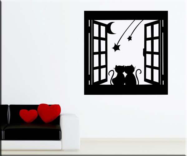 decorazione adesiva murale finestra gatti