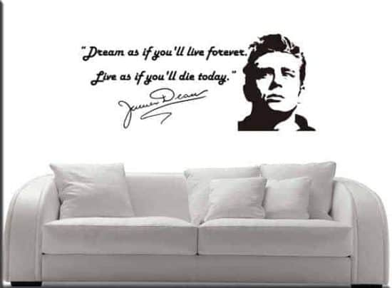 decorazione murale frase James Dean