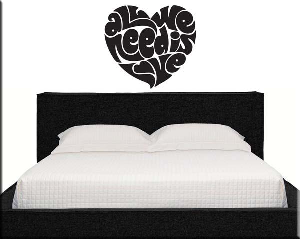 decorazioni adesive murali love letto