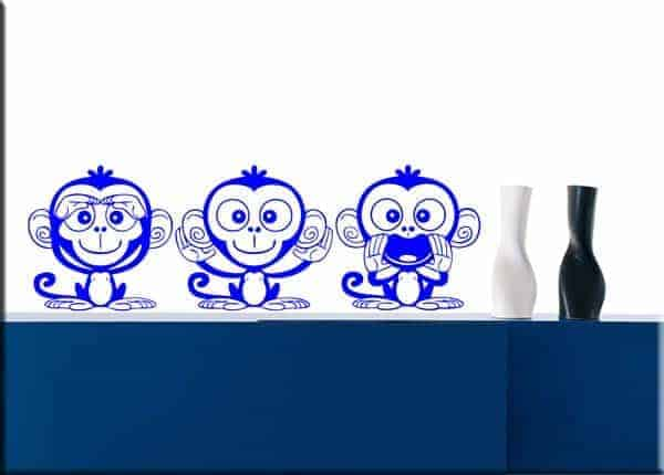 decorazioni adesive tre scimmiette dispettose