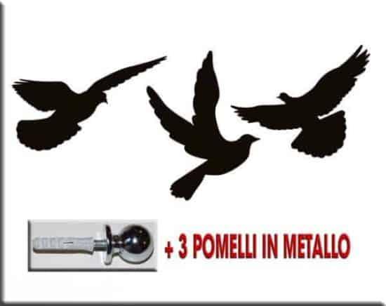 pomelli appendiabiti uccelli