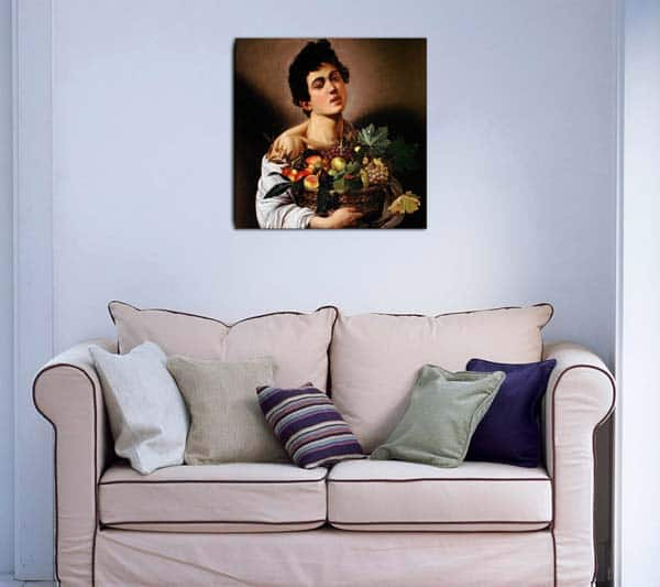 quadro moderno Caravaggio Fanciullo con canestro di frutta