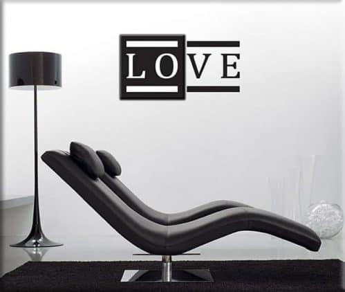 quadro moderno love e adesivo murale