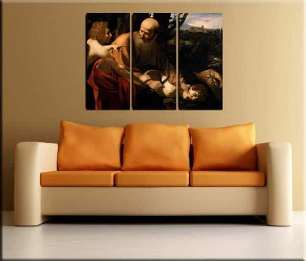 tris quadri moderni sacrificio di Isacco Caravaggio