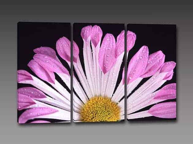 tris quadri moderni stampa fiore
