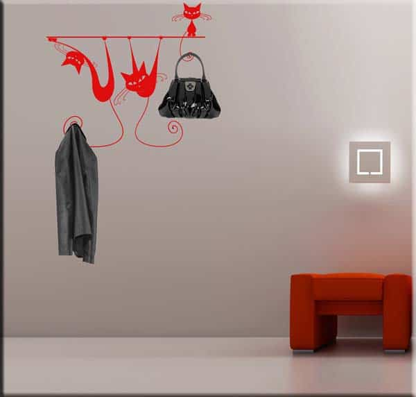 wall sticker appendiabiti gatti