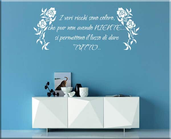 wall stickers fiori frase