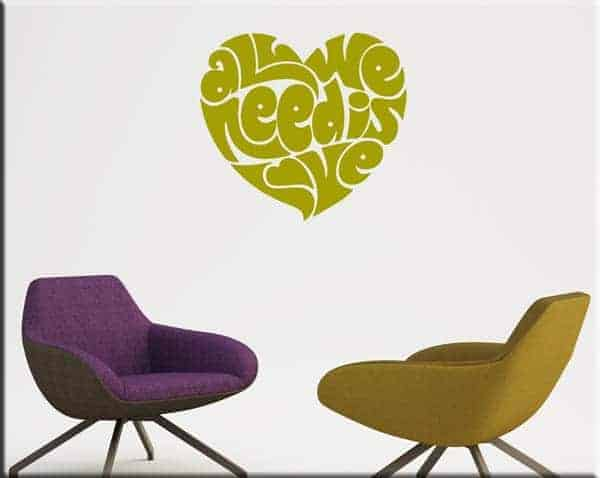 wall stickers love decorazioni letto