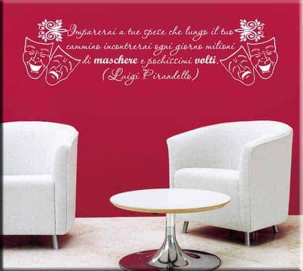 wall stickers maschere frase Pirandello