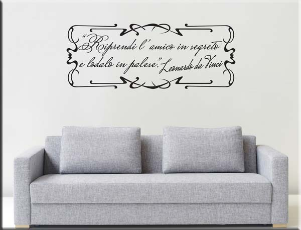 adesivi da parete frase Leonardo da Vinci