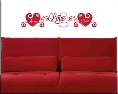 adesivi da parete love personalizzati letto